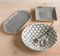 Napeague Serving Collection / Dwell Studio- love the cream, grey, and gold tones.mixing of patterns is on trend too Home Design, Sweet Home, Bohemian Living, Stores, Serveware, Ceramic Pottery, Decoration, Kitchenware, Home Accessories