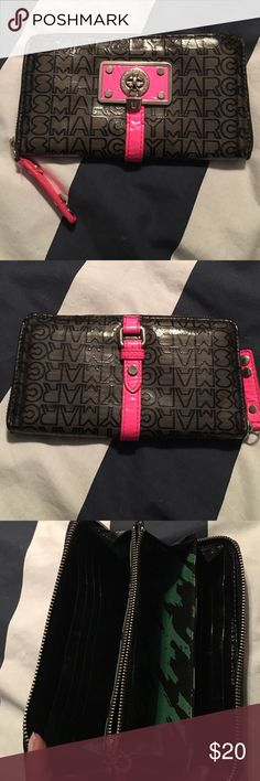 Authentic Marc Jacobs Wallet Patent leather with leather trim. 14 card slots, 6 money slots, and one coin pocket. Some darkening around the edges as seen in pictures. Bags Wallets