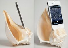 ShellPhone Loudspeaker - iPhone 5 acoustic speaker amplifier made from conch shell   DamnGeeky