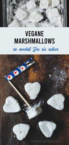 Hier lernst Du, wie Du vegane Marshmallows ganz einfach selbermachen kannst. Ohne Gelatine, ohne Eiweiß! Aquafaba, Seitan, Vegan Food, Vegan Recipes, Vanille Paste, Gelatine, Vegan Marshmallows, Kuchen, Worth It