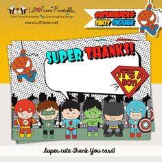 Superheroes Baby Shower Thank You Cards - Baby Superheroes - Instant Download