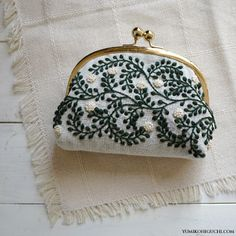 vines pattern pouch by yumiko higuchi - famed for her intricate and original embroidery designs of nature Embroidery Bags, Japanese Embroidery, Embroidery Stitches, Embroidery Patterns, Machine Embroidery, Embroidery Fashion, Frame Purse, Pouch Pattern, Embroidery Techniques