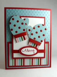 Mitten punch art using oval punches - bjl