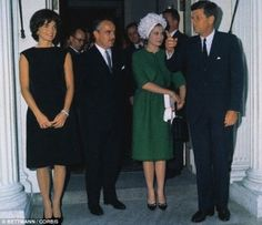 """Visit of the Grimaldis to a White House luncheon.When Princess Grace asked him how he knew she was wearing a Givenchy gown, he quipped, """"I ought to. I've paid for enough of them."""""""