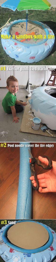 Make A Sandbox With A Tire. What A Fun Idea!