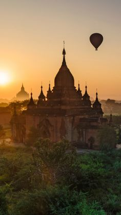 The hot air balloon ride over Bagan is a once-in-a-lifetime experience. #Myanmar