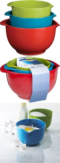Trudeau Melamine Mixing Bowls, Set of 3, Have fun in the Kitchen!!  Trudeau's set of 3 melamine mixing bowls are functional and attractive.  Bright warm tones will cheer you as you mix your brownie batter, scramble your eggs or any other mix..., #Kitchen, #Mixing Bowls, $14.01