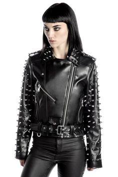 Billie Studded Biker Jacket [B] Vegan Leather, Black Leather, Off White Jacket, Studded Jacket, Metal Girl, Gothic Fashion, Rock Fashion, Women's Fashion, Female Fashion