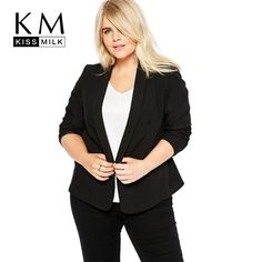 Aliexpress.com : Buy Kissmilk Plus Size Women Clothing Casual Slim Fit Blazers Basic Jackets Ladies Notched Long Sleeve Blazer Female Coat Big Size from Reliable coat jacket suppliers on Kissmilk