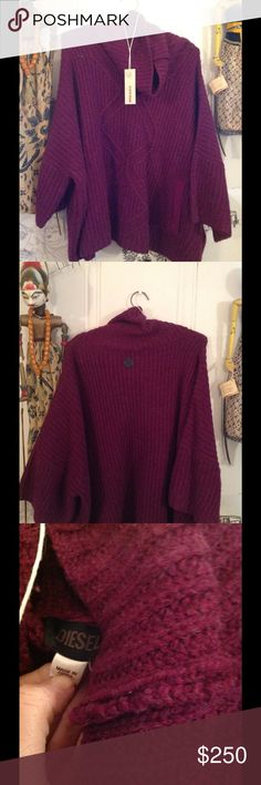 just in! DIESEL PLUM WOOL PONCHO💜💜 New, tagged large but fits all 😉 poncho turtleneck with 3/4 batwing style 50 50 wool rayon, warm and really cute!!! Diesel Sweaters Shrugs & Ponchos
