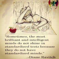 Sometimes the most brilliant and intelligent minds do not sine in standardized tests because they do but have standardized minds.