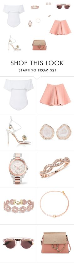 """""""Look do Dia"""" by julianaf121 ❤ liked on Polyvore featuring Karla Colletto, Marina Hoermanseder, Aquazzura, Kimberly McDonald, Michael Kors, Blue Nile, BaubleBar, Alex and Ani, Christian Dior and Chloé"""