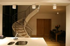 Custom helical stairs to fit your individual needs. Concrete Staircase, Concrete Floors, Polished Concrete, Sound Proofing, Stairs, Contemporary, Building, Design, Stairway