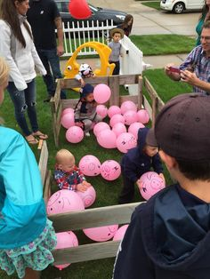 Barnyard Birthday! Pig pen game, We filled garbage bags with pink balloons and released them into the yard. The kids had to corral them into the pen (which I built out of a wood from a swingset my neighbor had at the cub for the garbage truck!). They were running around having so much fun as the wind blew them around the yard!