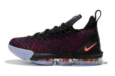 promo code 7cb7d e7d87 Men s Nike LeBron 16 Black Multicolor-Orange Basketball Shoes Tax Free
