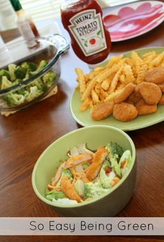 Need to make a fast, but still healthy meal?  Tyson Chicken Nuggets can be sliced up and added to a salad!