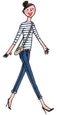Marinière, le look Finistère   Finistère Bretagne #myfinistere Paris Illustration, French Illustration, Cute Drawings Of Love, French Cartoons, Illustration Mignonne, Little Paris, Mod Girl, Paris Images, Fashion Figures