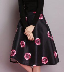 Vintage High Waist Printed Ball Gown Skirt For Women