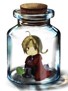 "Ed in a bottle by Yabuchin.deviantart.com on @deviantART -""haha hey look its the dwarf in a flask"""