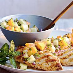 Grilled Chicken with Cucumber-Melon Salsa by Cooking Light