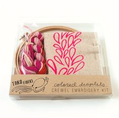 Embroidery Crewel Pink Droplets DIY Crewel Embroidery Kit by Assembleshop; Crewel Embroidery Kits, Learn Embroidery, Embroidery Patterns, Kit Diy, Seed Stitch, Couture, Craft Kits, Fiber Art, Screen Printing