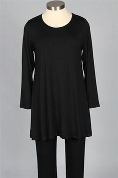 ded174d803 Comfy USA - Long Sleeve Long Tee Plus - Black