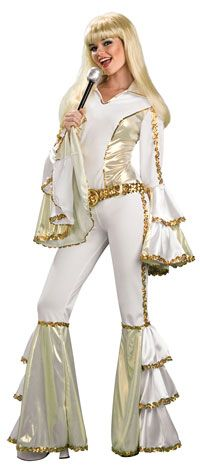 Buy this Disco Queen costume for women online. Great quality gold and white ABBA fancy dress costume, in stock for express delivery Australia wide. Wear this groovy disco costume to your next fancy dress costume party. 70s Halloween Costumes, Halloween Outfits, Adult Costumes, Costumes For Women, Dance Costumes, 1970s Costumes, Broadway Costumes, Funny Costumes, Halloween Parties