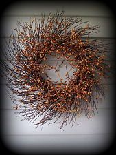 Mustard Colored Pip Berry Wreath - 22