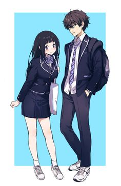 "chitoge: ""Hyouka by ※Permission to upload this work was granted by the artist. Anime Cupples, Chica Anime Manga, Anime Couples Manga, Anime Love Couple, I Love Anime, Anime Girlfriend, Humour Geek, Tamako Love Story, Cute Anime Coupes"