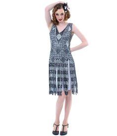 Unique Vintage Gunite 1920s Stevie Reproduction Flapper Dress