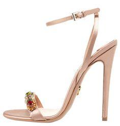 Prada Nude Rose High Multicolor Rhinestone Sandal $1,100 Spring Summer 2012 #Shoes #Heels