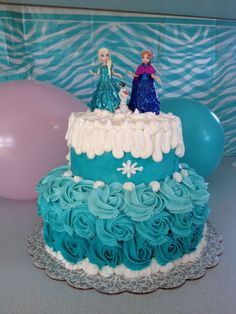 Elsa Anna Olaf frozen cake blue roses