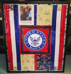 We are honored to have framed this fallen soldier quilt for the family of Navy Airman Alex Wolfisie. #art #pictureframing #customframing #denver #colorado #usnavy