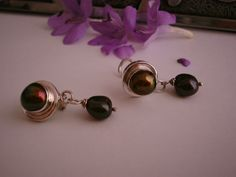Coffee bean pearls set in sterling clip on earrings
