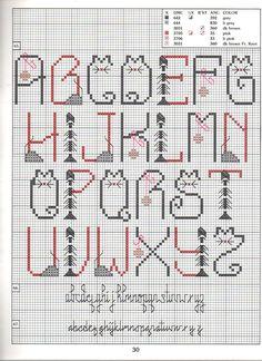 CAT ALPHABET PATTERN STYLE 1 - Not a single cat in my name. :-( Cross Stitch Alphabet Patterns, Cross Stitch Letters, Cross Stitch Boards, Stitch Patterns, Embroidery Fonts, Crewel Embroidery, Cross Stitch Embroidery, Letter A Crafts, Card Patterns