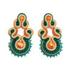 Soutache earrings green orange beige shop jewelry handmade gift for sale to buy orecchini pendientes oorbellen Ohrringe brincos örhängen by SoutacheFlowOn on Etsy
