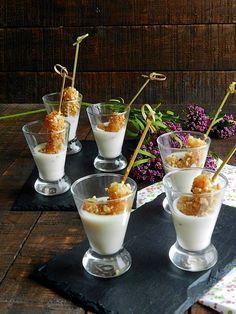 La cocina de Vifran: Gambones con crujiente de kikos y crema de parmesano