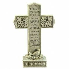 """Grasslands Road Loving Thoughts """"Those we have held in our arms"""" Memory Pedestal Cross Unique Sympathy Gifts, Sympathy Gift Baskets, Pedestal, Memorial Garden Stones, Religious Pictures, Outdoor Statues, Bereavement Gift, Remembrance Gifts, Wall Crosses"""