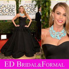 Sofia Vergara Dress Ball Gown Sweetheart Satin 2014 Golden Globes Awards Red Caprpet Celebrity Inspired Prom Dress Evening Dress