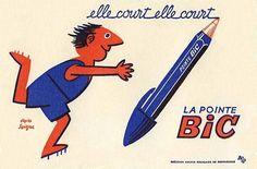 Galerie Montmartre: Original Vintage Posters Raymond Savignac La Pointe BIC c. Vintage Advertising Posters, Vintage Advertisements, Vintage Posters, Retro Posters, Retro Ads, Vintage Graphic, Movie Posters, Pub Vintage, Vintage Ephemera