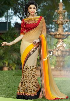 Net Faux Chiffon Saree with Orange Shades, Red and Golden
