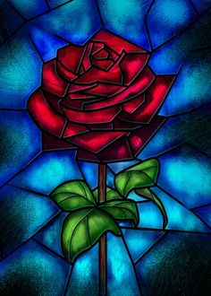 Disney Beauty & the Beast Enchanted Rose Stain Glass iPhone Wallpaper Deco Disney, Art Disney, Disney Belle, Disney Kunst, Disney Love, Disney Magic, Disney Crafts, Disney Stained Glass, Stained Glass Art