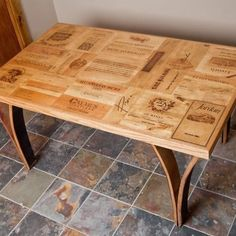 Custom Made Wine Crate Table With Stave Legs