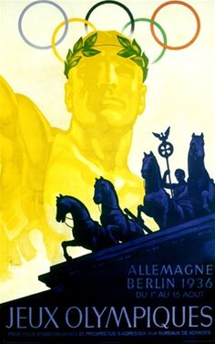 Olympiques Berlin by Wurbel 1936. Vintage German poster features a gold statue of an Olympian with the rings behind him and blue horses in front of him.