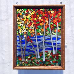 "Fall Stained Glass River Landscape Autumn Leaves Mosaic Stained Glass Panel Autumn Tree Stained Glass Mosaic River Landscape 15 1/2""x12 1/2"" by NiagaraGlassMosaics on Etsy"