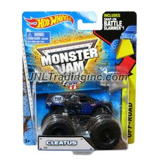"""Hot Wheels Year 2014 Monster Jam 1:64 Scale Die Cast Truck OFF-ROAD Series - CLEATUS (CFT49) with Snap-On Battle Slammer (Dimension : 3-1/2"""" L x 2-1/4"""" W x 2-1/2"""" H)"""