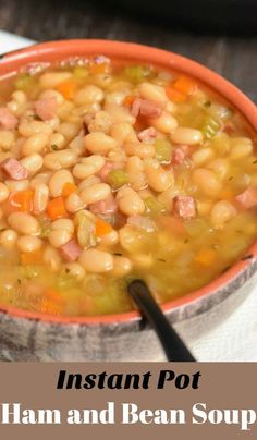 Ham and Bean Soup. Ham and Bean Soup Recipes This soup is made in an Instant Pot with leftover ham, navy beans, and a simple combination of veggies and spices. Navy Bean Soup, White Bean Soup, White Beans, Instant Pot Pressure Cooker, Pressure Cooker Recipes, Pressure Cooking, Pressure Pot, Bean Soup Recipes, Navy Bean Recipes