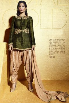 Dark Olive Bhagalpuri Top Embellished with Zari Indo-Western Salwar Suit at Lalgulal.com To Order :- http://goo.gl/kreCQe To Order you Call or Whatsapp us on +91-95121-50402 COD & Free Shipping Available only in India.