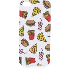 TOPSHOP Fast Food iPhone 5 Case ($15) ❤ liked on Polyvore featuring accessories, tech accessories, phone cases, phone, tech, iphone case, white, iphone cover case, apple iphone cases and pattern iphone case