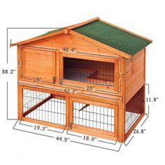 "Pawhut 48"" Backyard Wooden Rabbit Hutch"